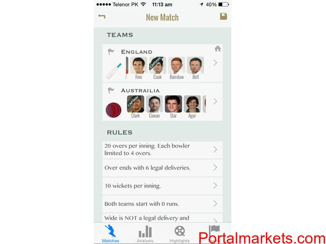 Cricket Scoring Software for iPhone/iPad - 1/2