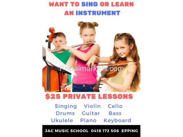 $25 Private Music Lessons - 1/1