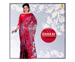 Buy top quality Dhakai sarees online from Banarasi Niketan