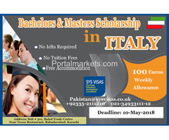 Bachelors & Mastars Scholarships In Italy