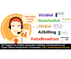 Support for Vicidial, GoAutodial, A2billing, Voicebroadcast and VTiger CRM by KingAsterisk