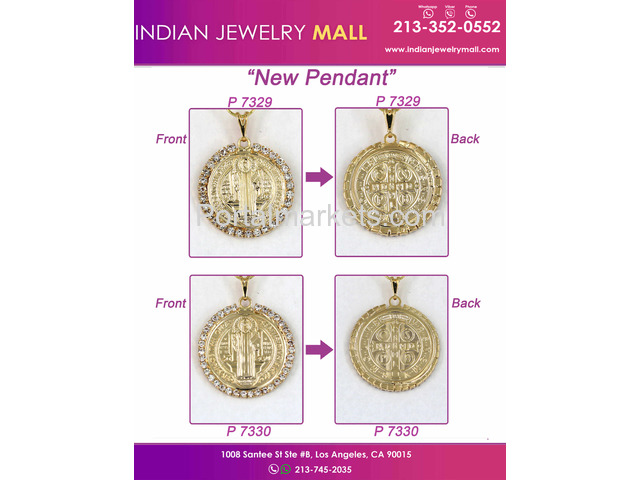 Gold Color Standing Jesus Christ Piece Charm   Pendant | Indian Jewelry Mall - 1/1