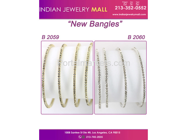 Cubic Zirconia Bangles | Oro Laminado Indian Jewelry Mall - 1/1