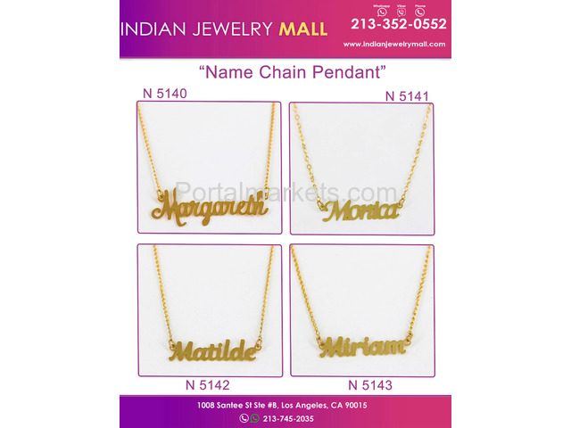 Gold Plated Name Chain Pendants - Oro Laminado Indian Jewelry Mall - 1/2