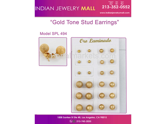 Gold Tone Stud Earrings - Oro Laminado Indian Jewelry Mall - 1/1