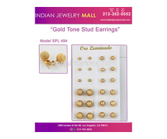 Gold Tone Stud Earrings - Oro Laminado Indian Jewelry Mall