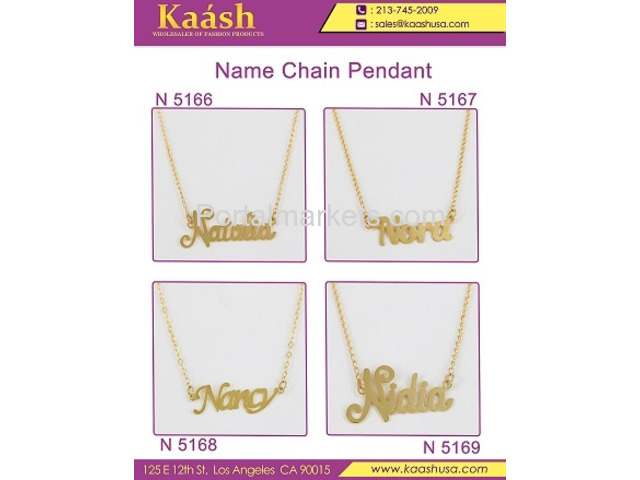 Kaash : Custom Name Necklace, Oro Laminado, Wholesale Jewelry,Gold   Plated Jewelry - 1/4