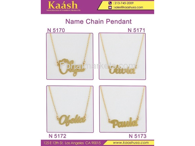 Kaash : Custom Name Necklace, Oro Laminado, Wholesale Jewelry,Gold   Plated Jewelry - 2/4