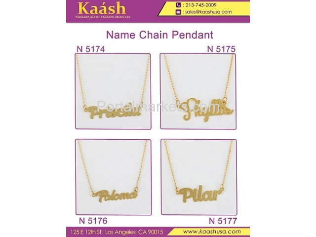 Kaash : Custom Name Necklace, Oro Laminado, Wholesale Jewelry,Gold   Plated Jewelry - 3/4