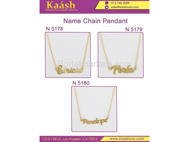 Kaash : Custom Name Necklace, Oro Laminado, Wholesale Jewelry,Gold   Plated Jewelry - 4/4