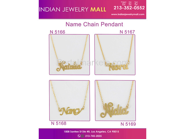 New Name Chain Pendant - Oro Laminado Indian Jewelry Mall - 1/4
