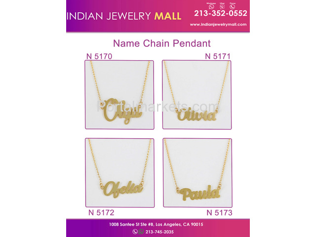 New Name Chain Pendant - Oro Laminado Indian Jewelry Mall - 2/4