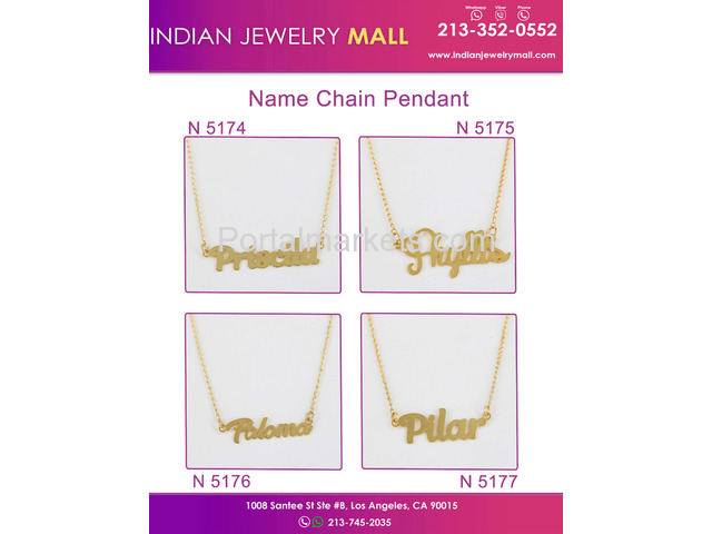New Name Chain Pendant - Oro Laminado Indian Jewelry Mall - 3/4
