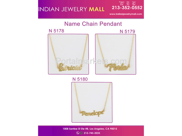 New Name Chain Pendant - Oro Laminado Indian Jewelry Mall - 4/4
