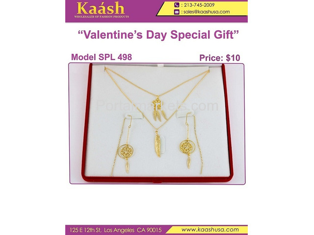 Kaashusa :Necklace Sets for Valentine's Special Oro Laminado, Wholesale Jewelry - 1/3