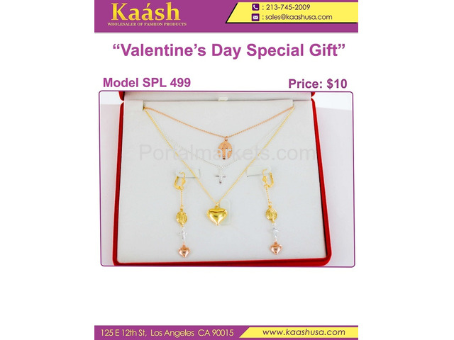 Kaashusa :Necklace Sets for Valentine's Special Oro Laminado, Wholesale Jewelry - 2/3