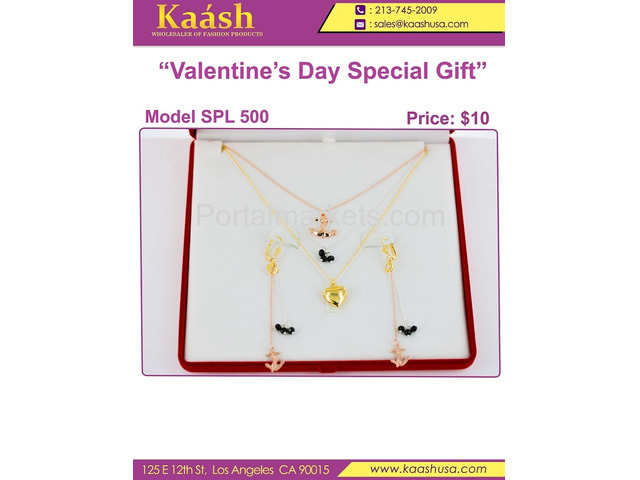 Kaashusa :Necklace Sets for Valentine's Special Oro Laminado, Wholesale Jewelry - 3/3