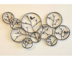 Antique Bronze Finish Iron Metal Wall Art With Songbirds In Winter Berry Tree