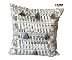 DecorShore Soft Square Pillow Sham Cushion Case for Sofa Couch 18X18 Inch Blue Ivory