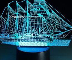 Loskii DL-3D1 Creative Sailing Boat USB 3D LED Lights Colorful Touch Night Light Christmas Gift