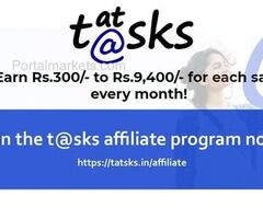 Earn Rs.300/- to Rs.9,400/ with the t@sks (tatsks) affiliate program