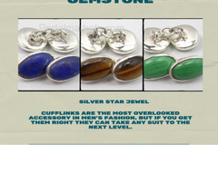 Cufflinks & Studs in Sterling Silver Gemstone